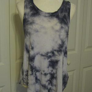 AE White and Blue Tie Dye Tank ~ Size Small